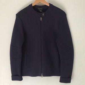 Etcetera Sweater Wool Purple Snap Button Collar